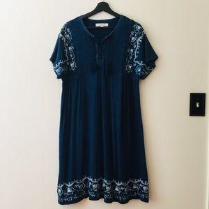 LOFT | Blue Floral Embroidery Tassel Knit Dress